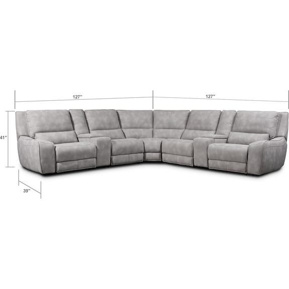 Living Room Furniture - Holden 7-Piece Dual-Power Reclining Sectional with 3 Reclining Seats - Stone
