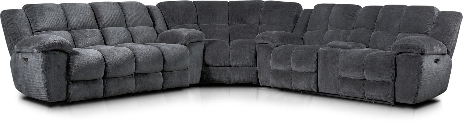 Living Room Furniture - Mellow 3-Piece Dual-Power Reclining Sectional with 4 Reclining Seats - Gray