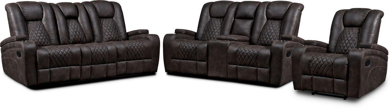 Living Room Furniture - Felix Manual Reclining Sofa, Loveseat and Recliner - Brown