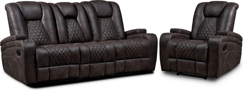 Living Room Furniture - Felix Manual Reclining Sofa and Recliner - Brown