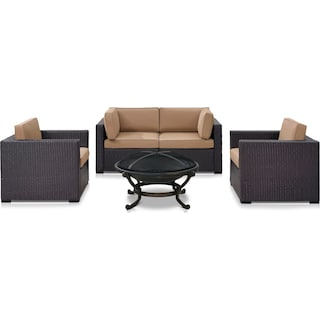 Isla Outdoor Loveseat, 2 Chairs and Fire Pit Set - Mocha