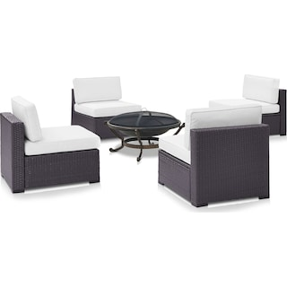 Isla Set of 4 Outdoor Armless Chairs and Fire Pit - White