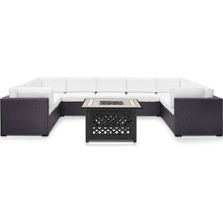 Isla 5-Piece Outdoor Sectional and Fire Table Set - White