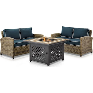 Destin Set of 2 Outdoor Loveseats and Fire Table - Navy