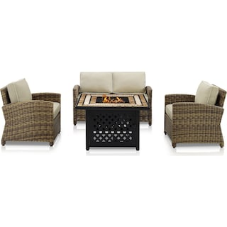 Destin Outdoor Loveseat, 2 Chairs and Fire Table - Sand