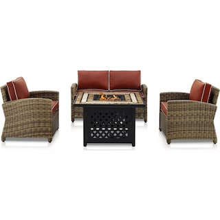 Destin Outdoor Loveseat, 2 Chairs and Fire Table - Sangria