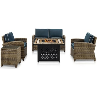 Destin Outdoor Loveseat, 2 Chairs, End Table and Fire Table - Navy