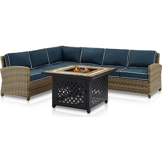 Destin 4-Piece Outdoor Sectional and Fire Table Set - Navy