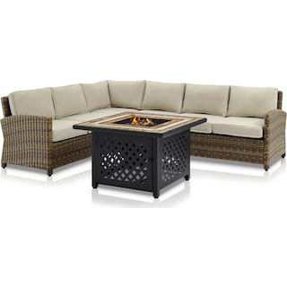 Destin 4-Piece Outdoor Sectional and Fire Table Set - Sand