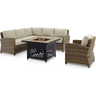 Destin 3-Piece Outdoor Sectional, Chair and Fire Table - Sand