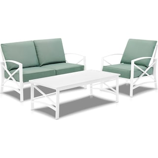 Clarion Outdoor Loveseat, Chair and Coffee Table - Mist/White