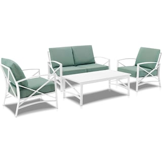 Clarion Outdoor Loveseat, 2 Chairs, and Coffee Table - Mist/White