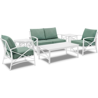 Clarion Outdoor Loveseat, 2 Chairs, Coffee Table and 2 End Tables - Mist/White