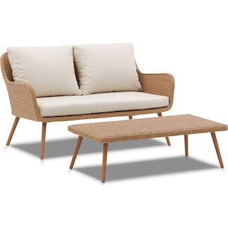 Delray Outdoor Loveseat and Coffee Table Set