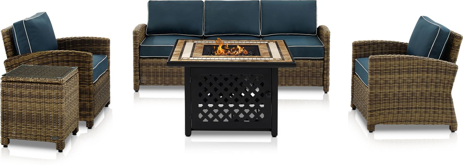 Outdoor Furniture - Destin Outdoor Sofa, 2 Chairs, End Table and Fire Table