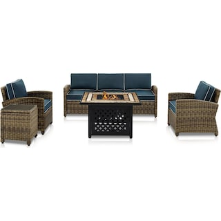 Destin Outdoor Sofa, 2 Chairs, End Table and Fire Table - Navy