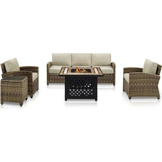Destin Outdoor Sofa, 2 Chairs, End Table and Fire Table - Sand