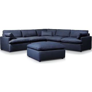 Cozy 5-Piece Power Reclining Sectional with Ottoman and 2 Reclining Seats - Navy