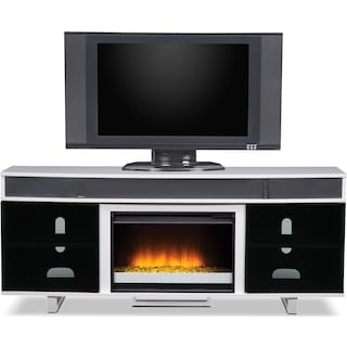 """Pacer 72"""" Contemporary Fireplace TV Stand with Sound Bar - White"""