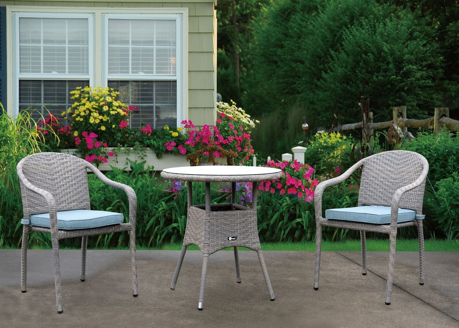 Outdoor Furniture - Augusta Outdoor Bistro Table and 2 Chairs