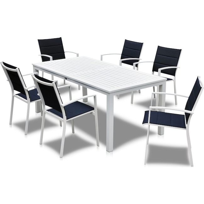 Outdoor Furniture - Edgewater Outdoor Rectangular Dining Table and 6 Chairs