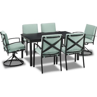 Clarion Outdoor Dining Table, 4 Dining Chairs and 2 Swivel Chairs - Mist
