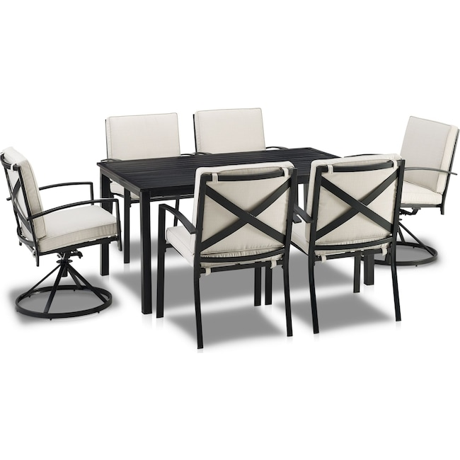 Outdoor Furniture - Clarion Outdoor Dining Table, 4 Dining Chairs and 2 Swivel Chairs