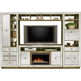 Reflection 4-Piece Entertainment Center with Contemporary Fireplace - Mirror