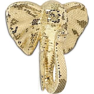 Elephant Head Wall Art - Gold