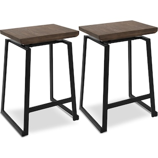 Ace Set of 2 Counter-Height Stools - Black