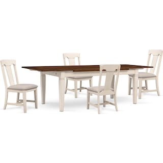 Adler Dining Table and 4 Dining Chairs - White