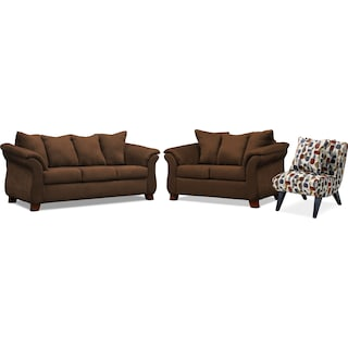 Adrian Sofa, Loveseat and Accent Chair - Chocolate