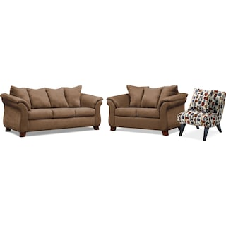 Adrian Sofa, Loveseat and Accent Chair - Taupe