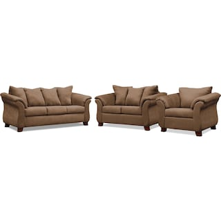 Adrian Sofa, Loveseat and Chair - Taupe