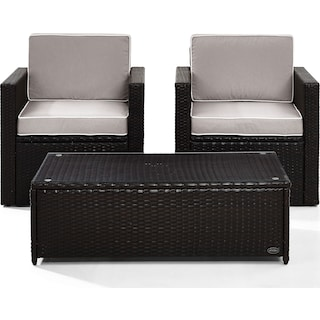 Aldo Set of 2 Outdoor Chairs and Coffee Table - Gray