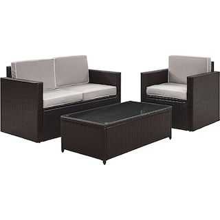 Aldo Outdoor Loveseat, Chair and Coffee Table Set - Gray