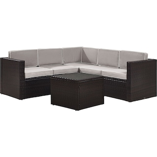 Aldo 6-Piece Outdoor Sectional and Table Set - Gray