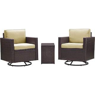 Aldo Set of 2 Outdoor Swivel Chairs and End Table - Sand