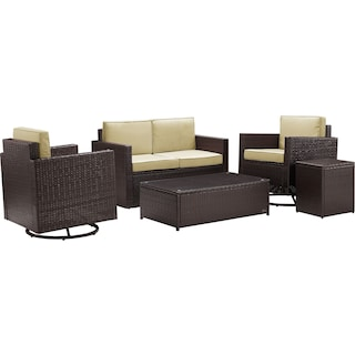 Aldo Outdoor Loveseat, Set of 2 Swivel Chairs, Coffee Table and End Table