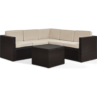 Aldo 6-Piece Outdoor Sectional and Table Set - Sand