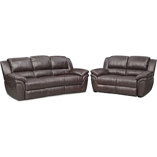 Aldo Manual Reclining Sofa and Stationary Loveseat Set - Brown