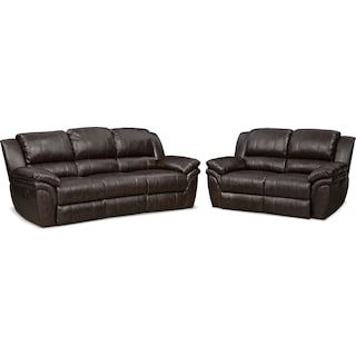Aldo Manual Reclining Sofa and Loveseat Set - Brown