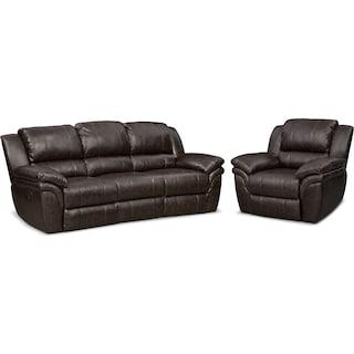 Aldo Manual Reclining Sofa and Recliner Set - Brown