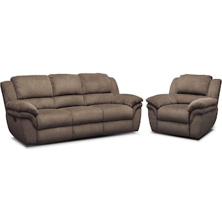 Aldo Manual Reclining Sofa and Recliner Set - Mocha