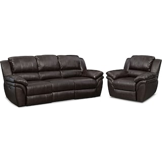 Aldo Power Reclining Sofa and Recliner Set - Brown