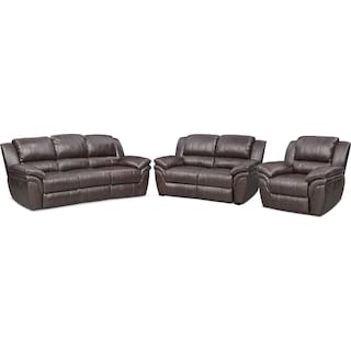 Aldo Manual Reclining Sofa, Manual Recliner and Stationary Loveseat - Brown