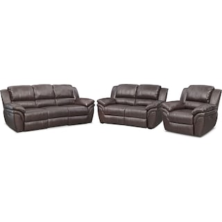 Aldo Power Reclining Sofa, Power Recliner and Stationary Loveseat - Brown