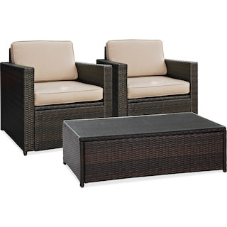 Aldo 2 Outdoor Chairs and Coffee Table Set - Brown