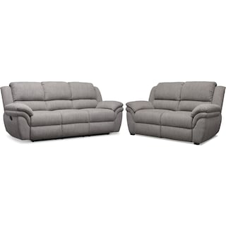 Aldo Manual Reclining Sofa and Stationary Loveseat Set - Gray