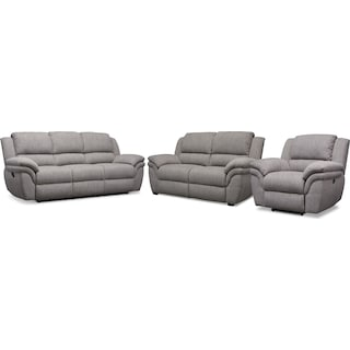 Aldo Manual Reclining Sofa, Manual Recliner and Stationary Loveseat - Gray